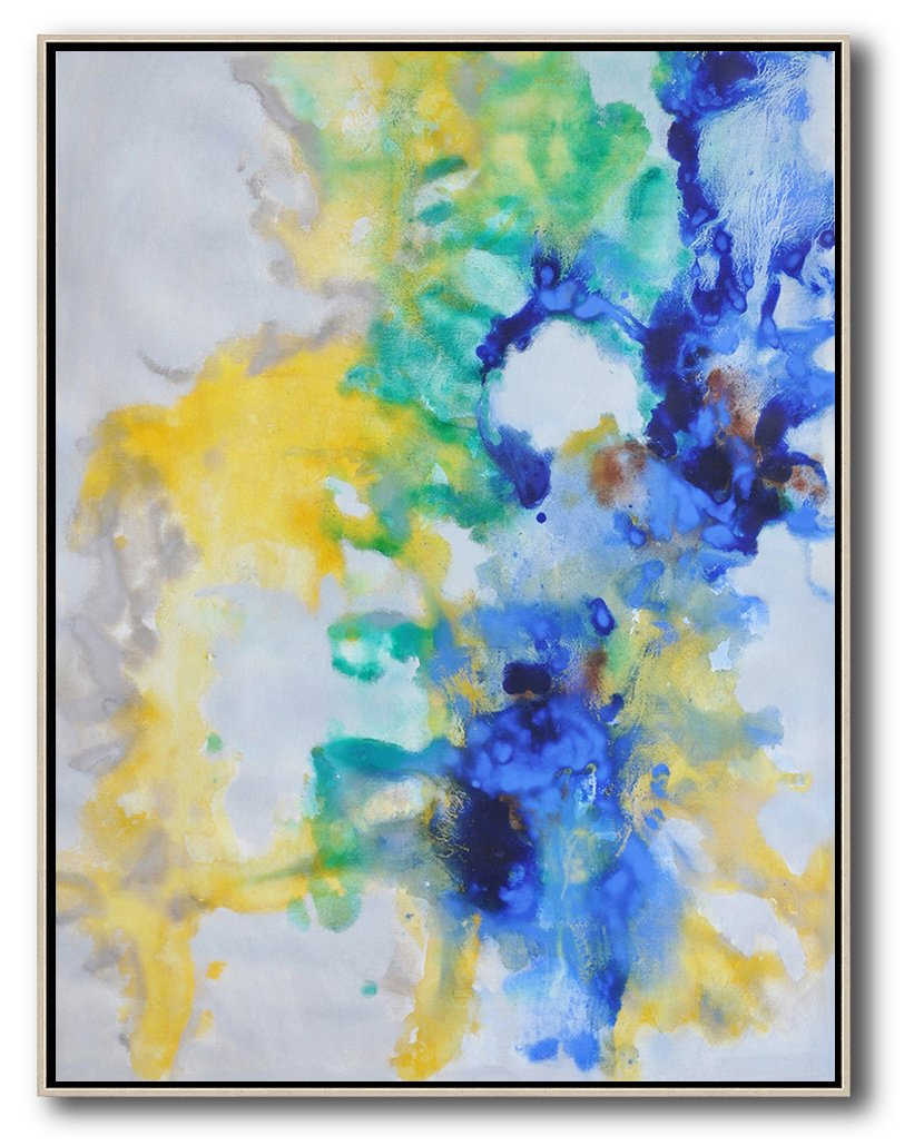 Original Extra Large Wall Art,Oversized Abstract Landscape Painting,Canvas Artwork For Sale,Grey,Yellow,Green,Blue.etc