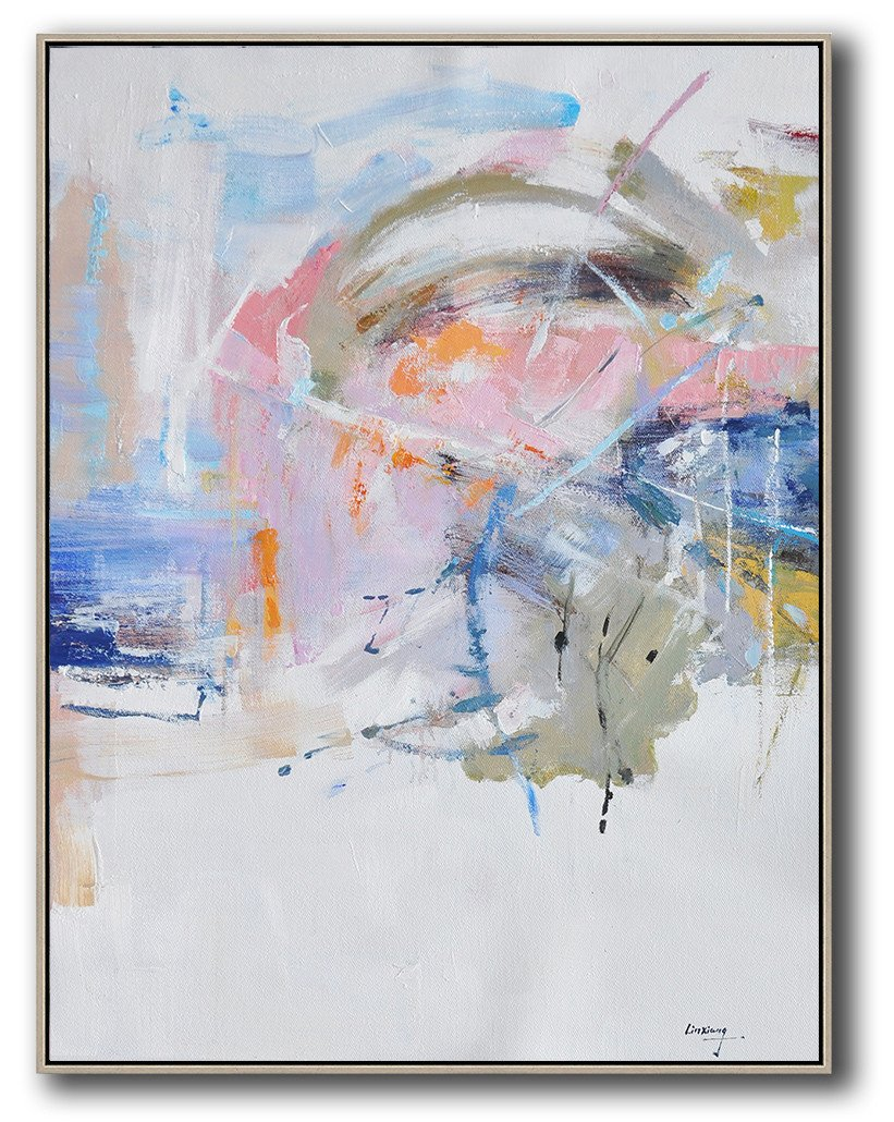 Extra Large Canvas Art,Oversized Abstract Landscape Painting,Large Wall Canvas,White,Pink,Blue,Grey.etc