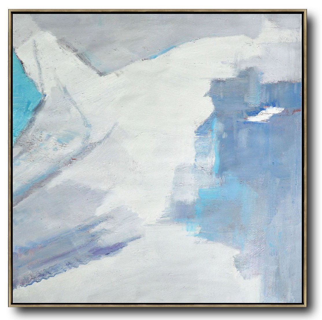 Original Abstract Painting Extra Large Canvas Art,Oversized Contemporary Art,Giant Wall Decor,Sky Blue,White,Grey.etc