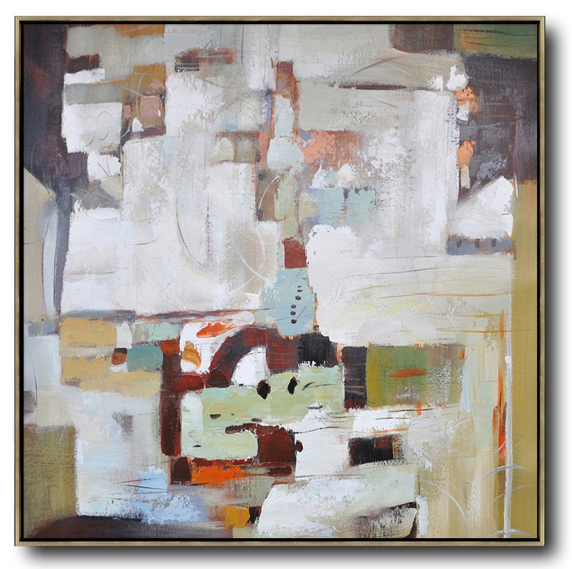 Extra Large Painting,Oversized Contemporary Art,Giant Canvas Wall Art,Brown,White,Red,Dark Green.etc