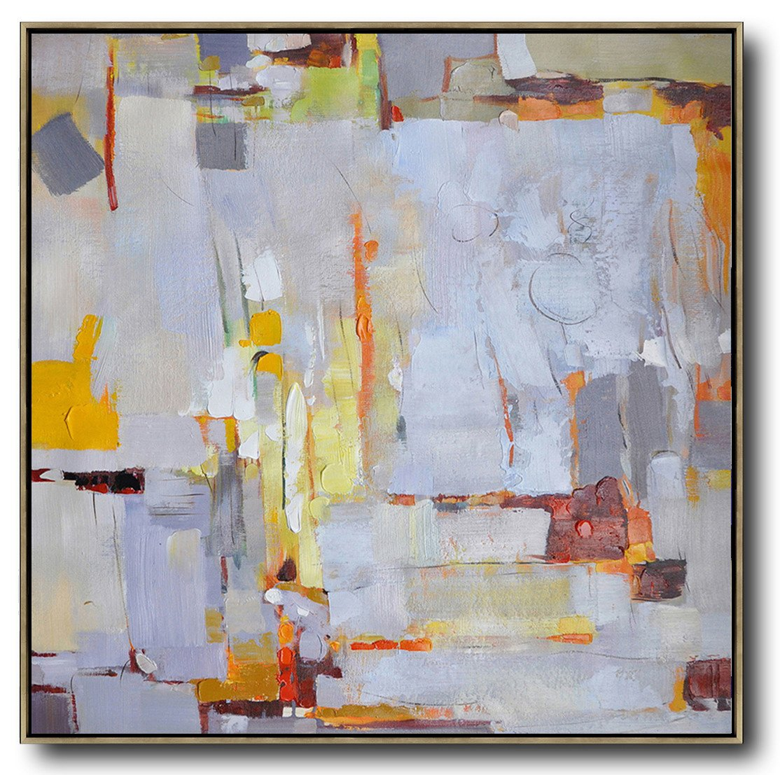 Large Modern Abstract Painting,Oversized Contemporary Art,Acrylic On Canvas Abstract,Violet Ash,Yellow,Red,Orange.etc