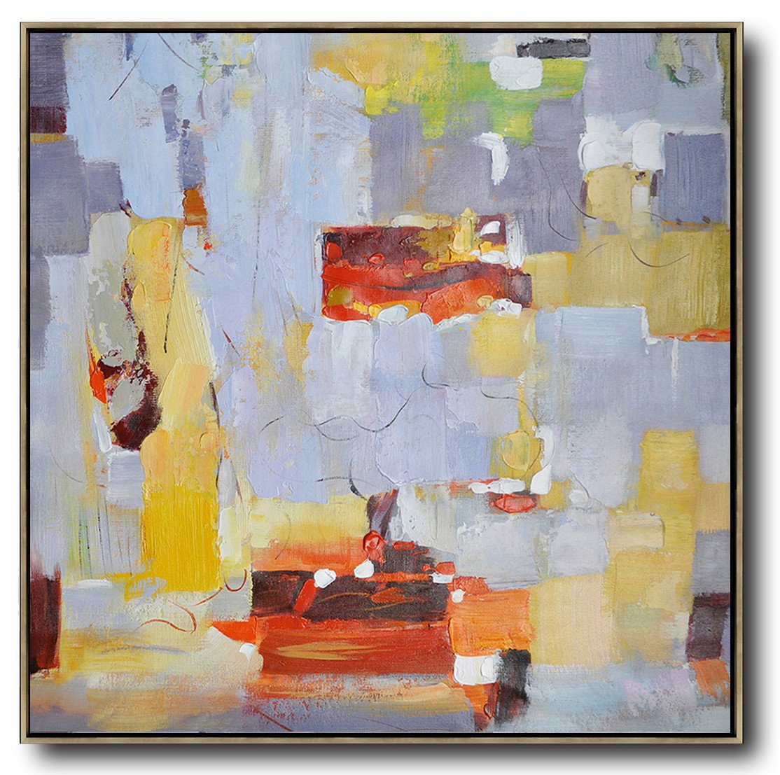 Huge Abstract Painting On Canvas,Oversized Contemporary Art,Custom Oil Painting,Violet Ash,Yellow,Red,Orange.etc