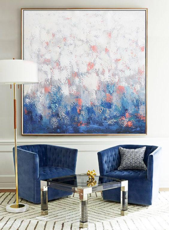Hand Made Abstract Art,Oversized Contemporary Art,Hand Painted Acrylic Painting,Blue,Taupe,White,Pink.etc