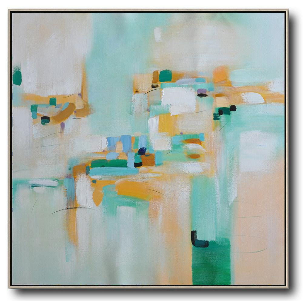Hand Painted Extra Large Abstract Painting,Oversized Contemporary Art,Textured Painting Canvas Art,Green,Yellow,Blue,White.etc