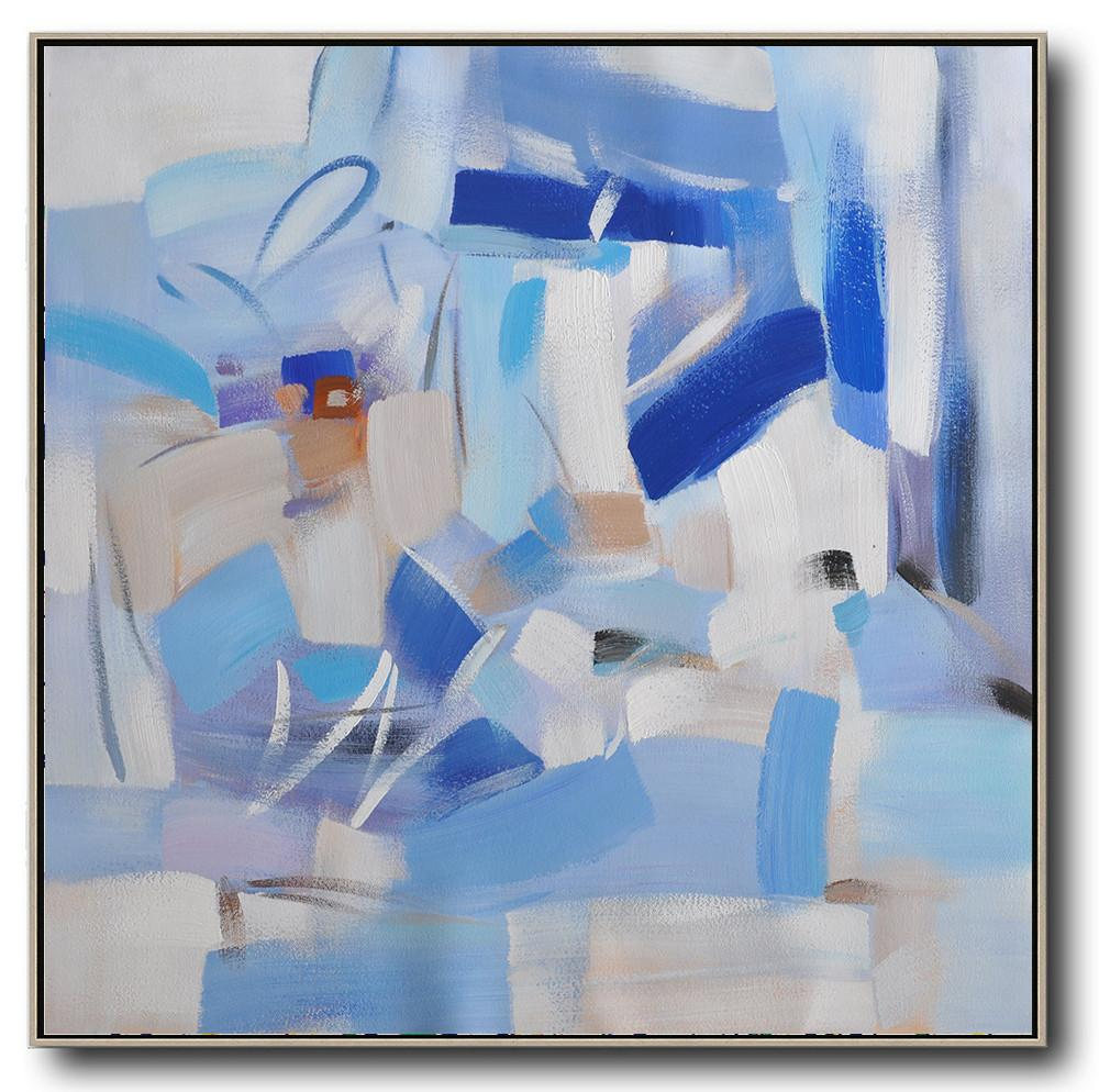 Handmade Large Painting,Oversized Contemporary Art,Hand-Painted Contemporary Art,Blue,White,Sky Blue,Gray Violet.etc