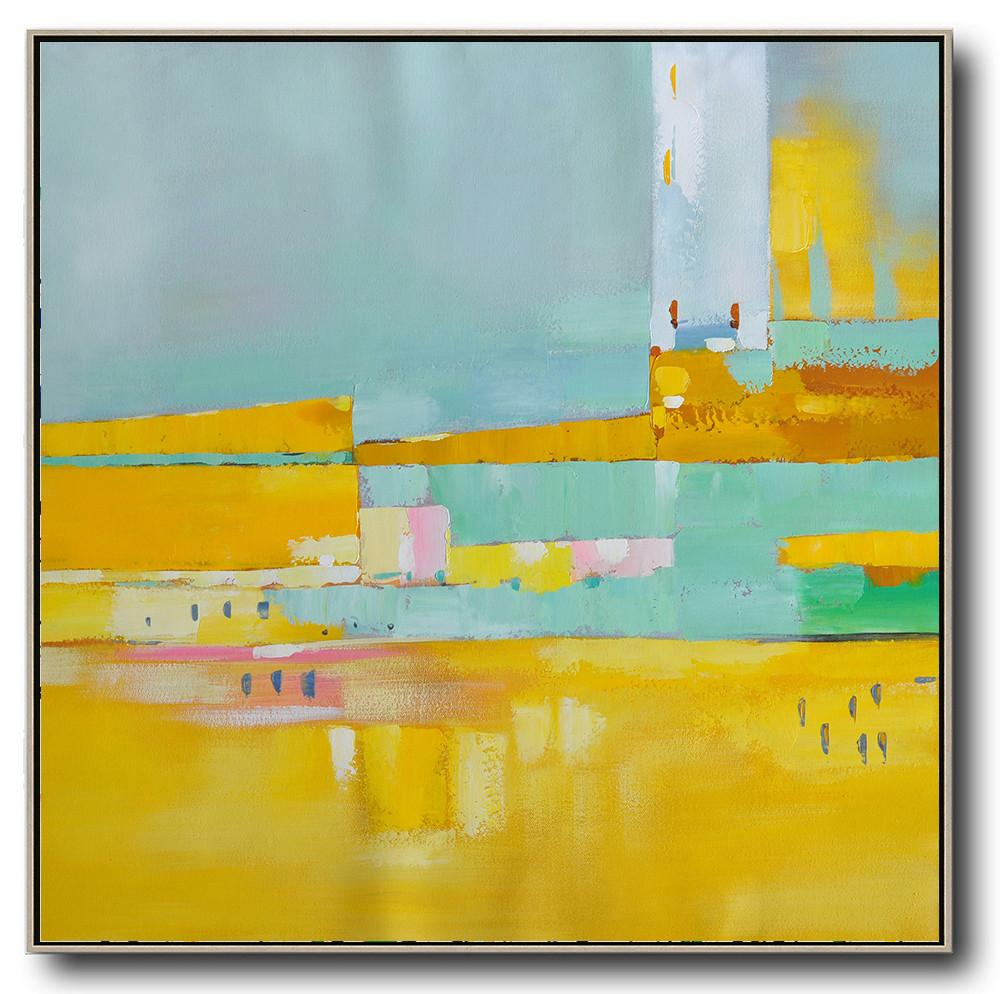 Large Abstract Art,Oversized Contemporary Art,Modern Wall Decor,Yellow,Sky Blue,Pink,White.etc