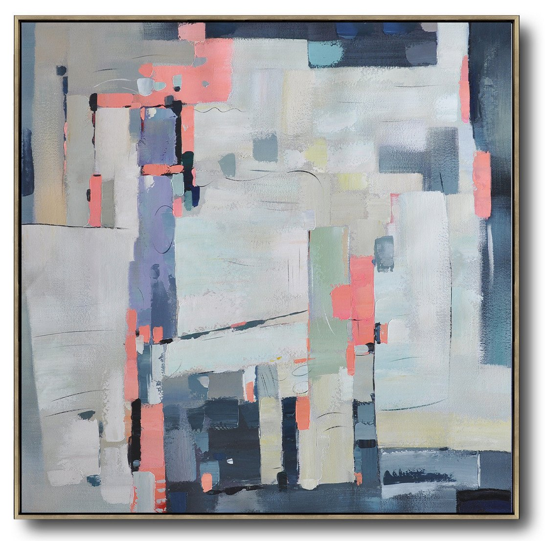 Huge Abstract Painting On Canvas,Oversized Contemporary Art,Modern Art,Pink,Grey,Purple,Dark Blue.etc