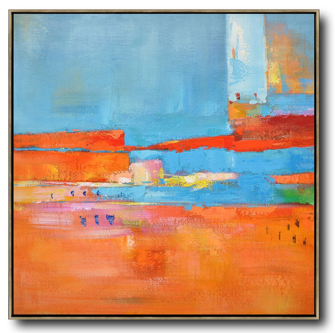 Large Contemporary Art Acrylic Painting,Oversized Contemporary Art,Abstract Painting On Canvas,Red,Blue,Orange,Yellow,Pink.etc