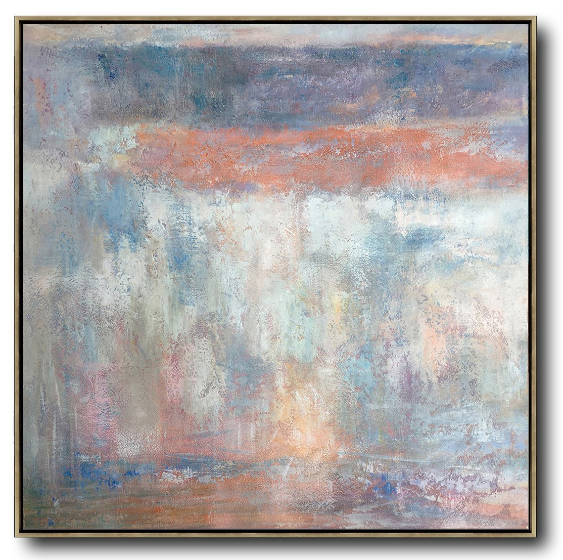 Large Abstract Painting On Canvas,Oversized Contemporary Art,Abstract Painting For Home,Orange,Grey,White,Blue.etc