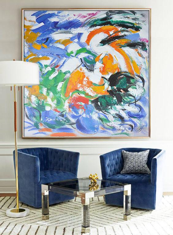Abstract Painting Extra Large Canvas Art,Oversized Contemporary Art,Original Abstract Oil Paintings,Blue,Orange,Yellow,Green.etc