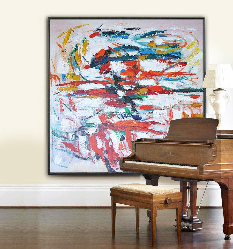 Large Abstract Painting Canvas Art,Oversized Contemporary Art,Large Living Room Decor,Red,White,Blue,Orange.etc