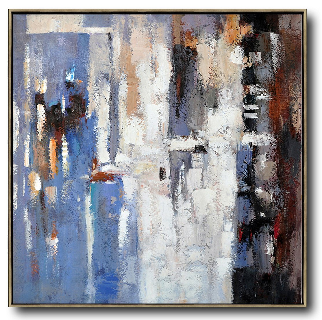 Large Contemporary Art Acrylic Painting,Oversized Contemporary Art,Canvas Wall Art Home Decor,Blue,White,Brown,Red.etc