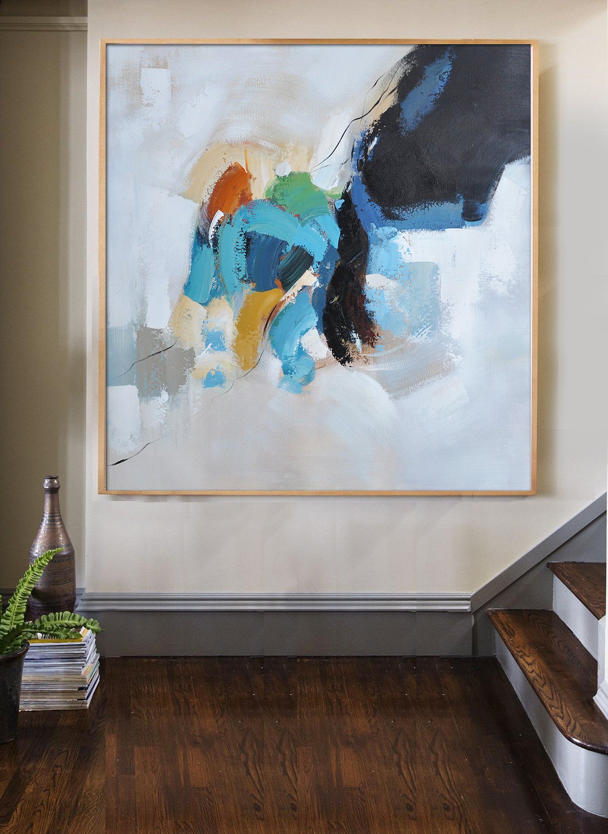Large Modern Abstract Painting,Oversized Contemporary Art,Art Work,Black,White,Sky Blue,Green,Yellow.etc