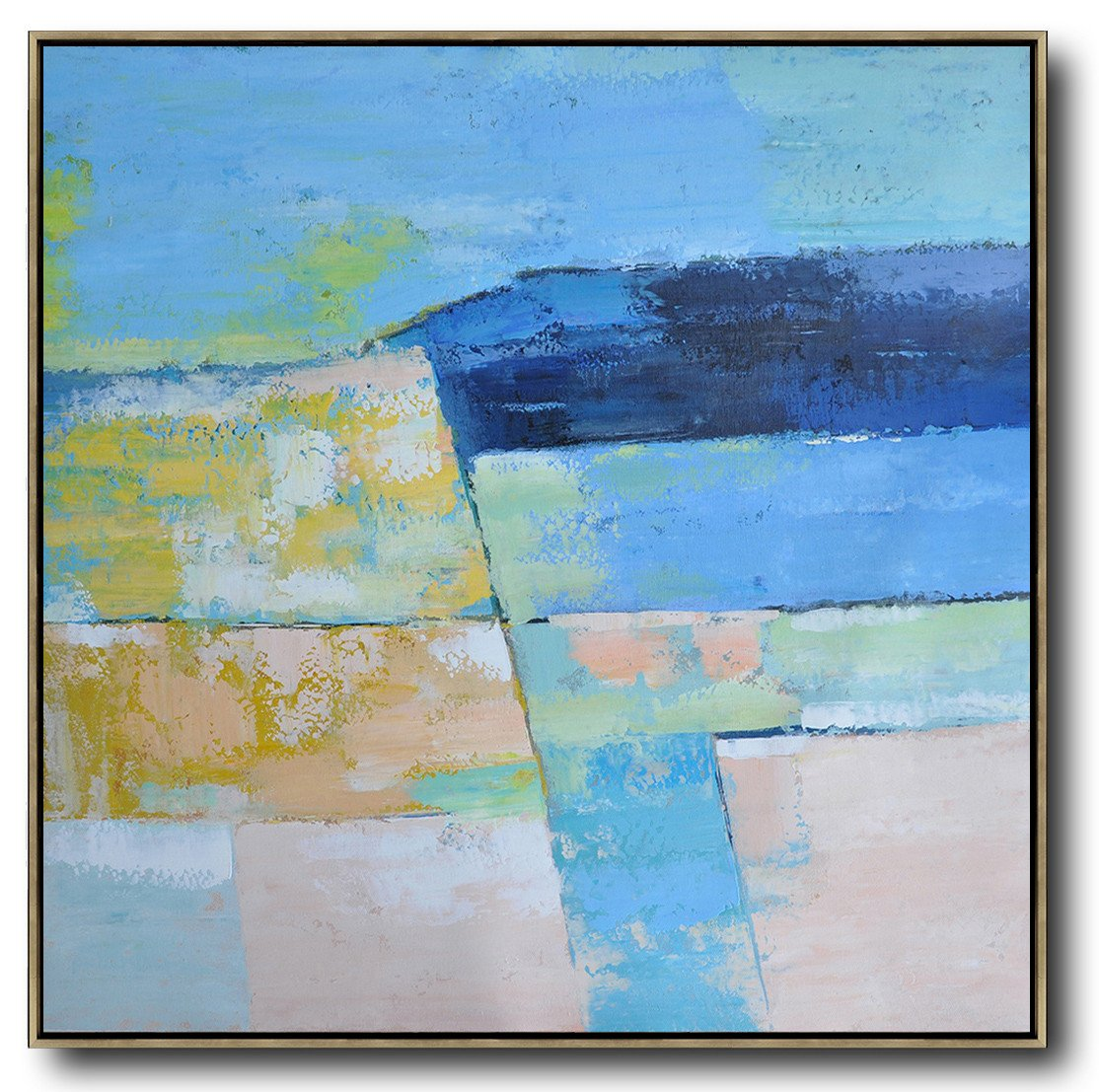 Abstract Painting Extra Large Canvas Art,Oversized Contemporary Art,Hand Paint Large Clean Modern Art,Blue,Pink,Yellow,Grass Green.etc