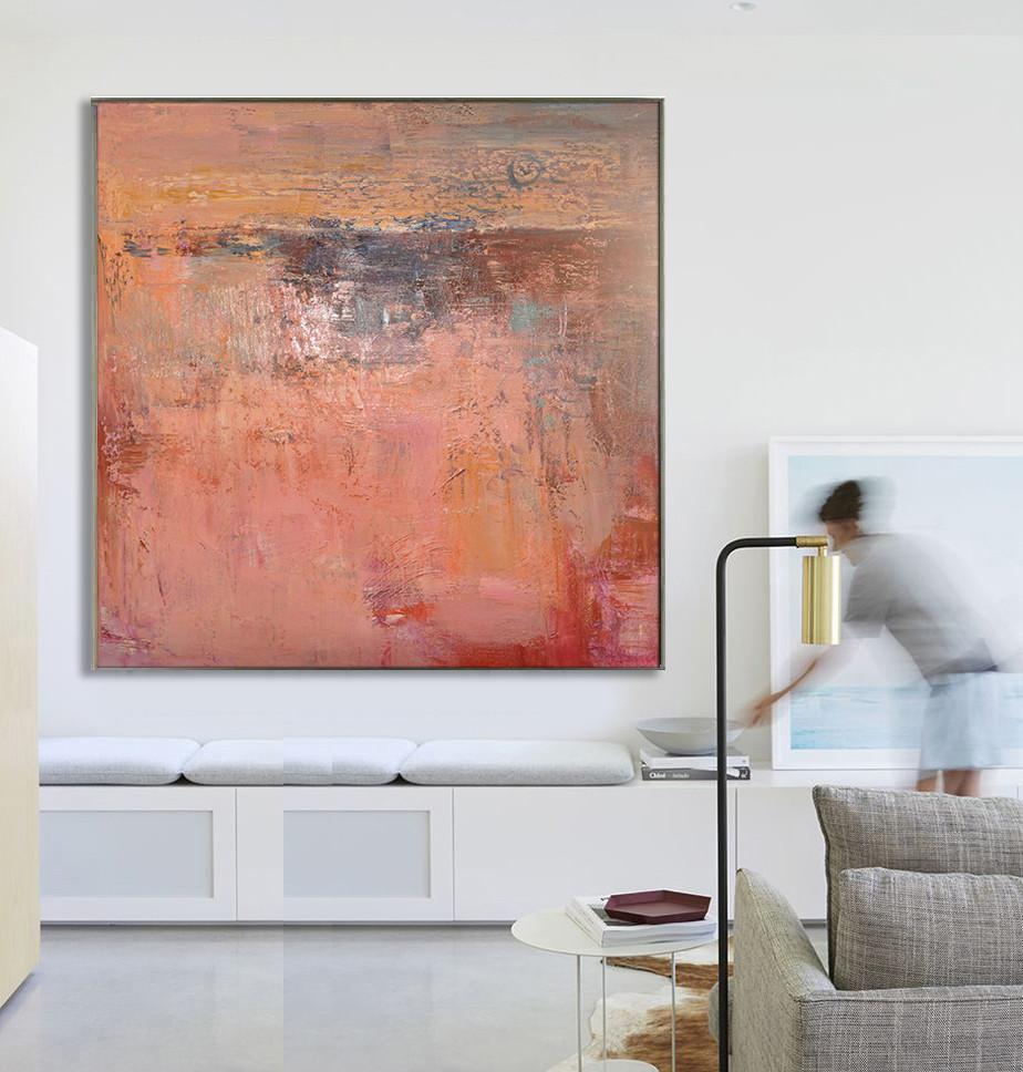 Hand Painted Extra Large Abstract Painting,Oversized Contemporary Art,Colorful Wall Art,Red,Brown,Orange.etc