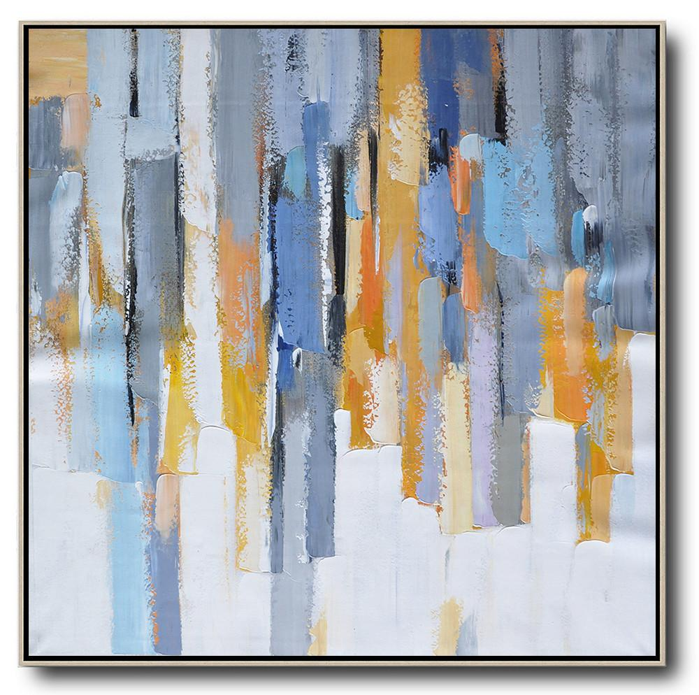 Extra Large Textured Painting On Canvas,Oversized Contemporary Art,Large Contemporary Art Canvas Painting,White,Yellow,Blue,Grey,Orange.etc