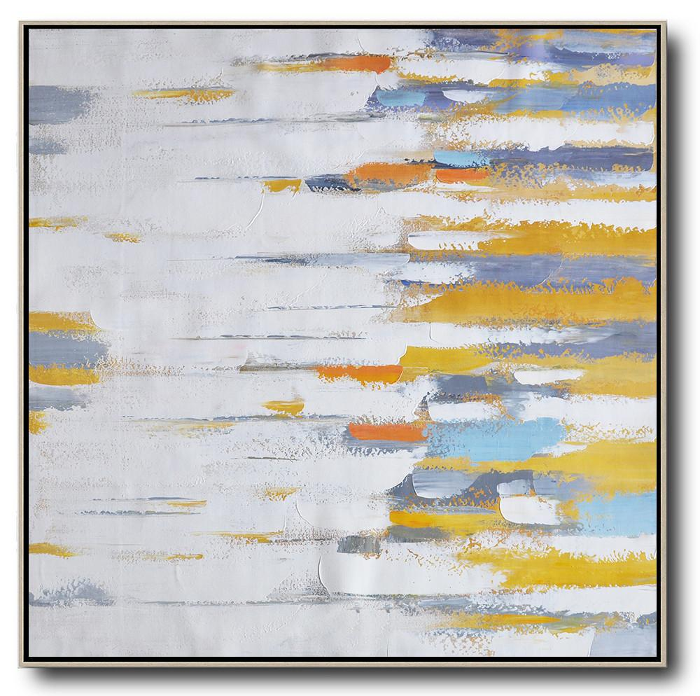 Oversized Canvas Art On Canvas,Oversized Contemporary Art,Original Art Acrylic Painting,White,Yellow,Grey,Orange.etc