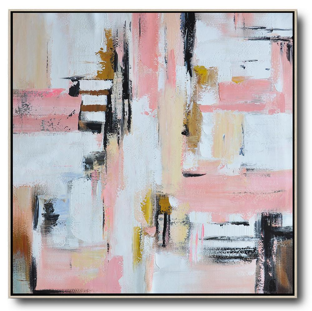 Abstract Painting Extra Large Canvas Art,Oversized Contemporary Art,Contemporary Wall Art,Pink,White,Yellow,Brown.etc