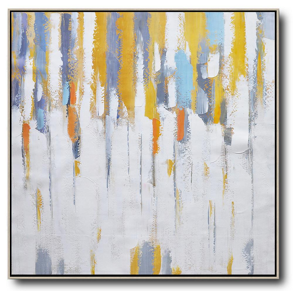 Large Abstract Painting,Oversized Contemporary Art,Modern Art Abstract Painting,White,Yellow,Grey,Orange.etc
