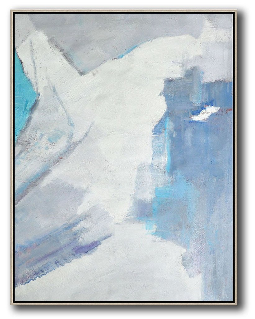 Handmade Extra Large Contemporary Painting,Vertical Palette Knife Contemporary Art,Original Abstract Painting Canvas Art,White,Grey,Sky Blue.etc