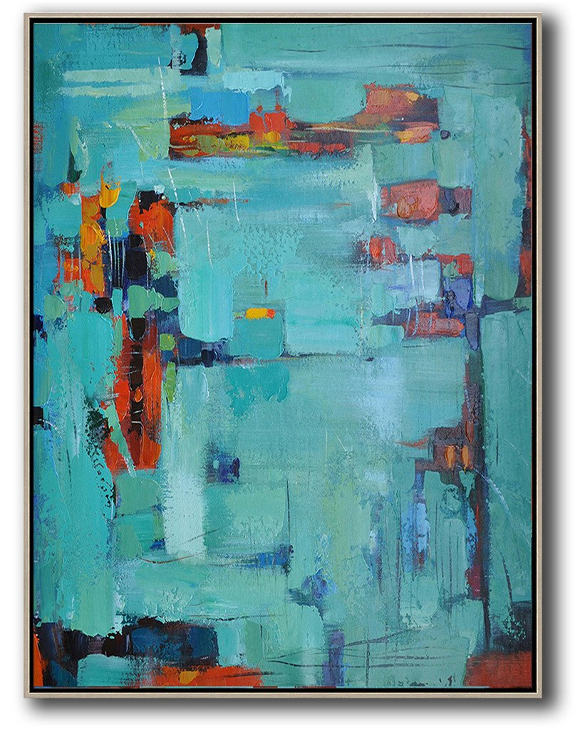 Extra Large Painting,Vertical Palette Knife Contemporary Art,Modern Paintings On Canvas,Lake Blue,Red,Black.etc