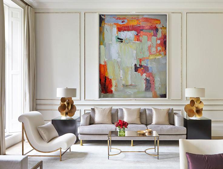 Abstract Painting Extra Large Canvas Art,Vertical Palette Knife Contemporary Art,Extra Large Artwork,Red,Light Green,Grey.etc
