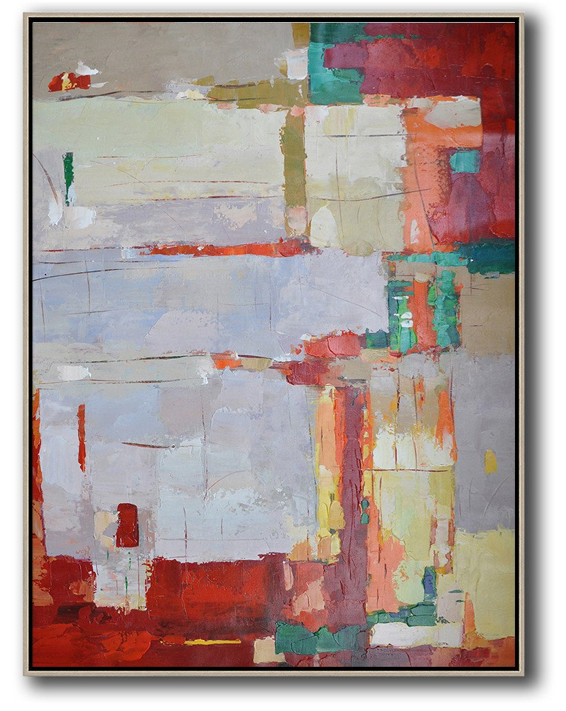 Large Abstract Painting Canvas Art,Vertical Palette Knife Contemporary Art,Large Wall Canvas,Purple Grey,Red,Yellow.etc