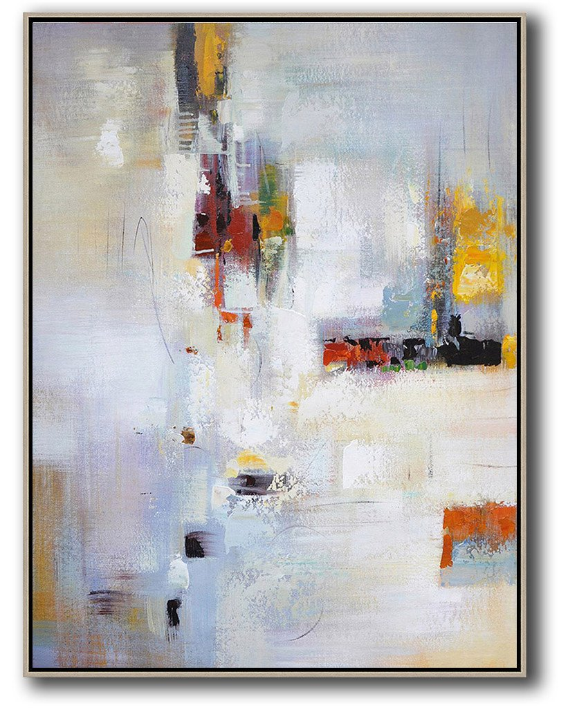 Extra Large Acrylic Painting On Canvas,Vertical Palette Knife Contemporary Art,Modern Art Abstract Painting,Purplish Grey,White,Red,Yellow,Brown.etc