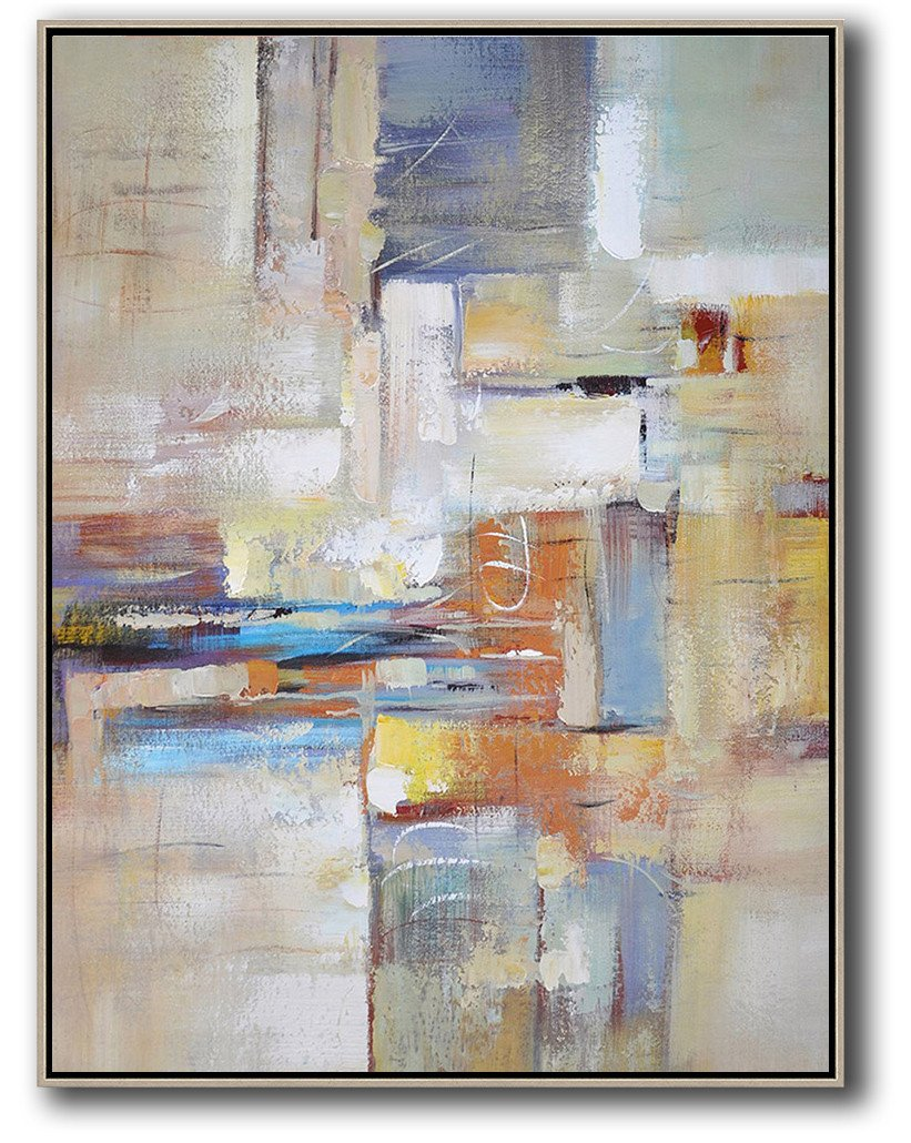 Large Abstract Art,Vertical Palette Knife Contemporary Art,Big Art Canvas,White,Purple,Orange,Yellow.etc