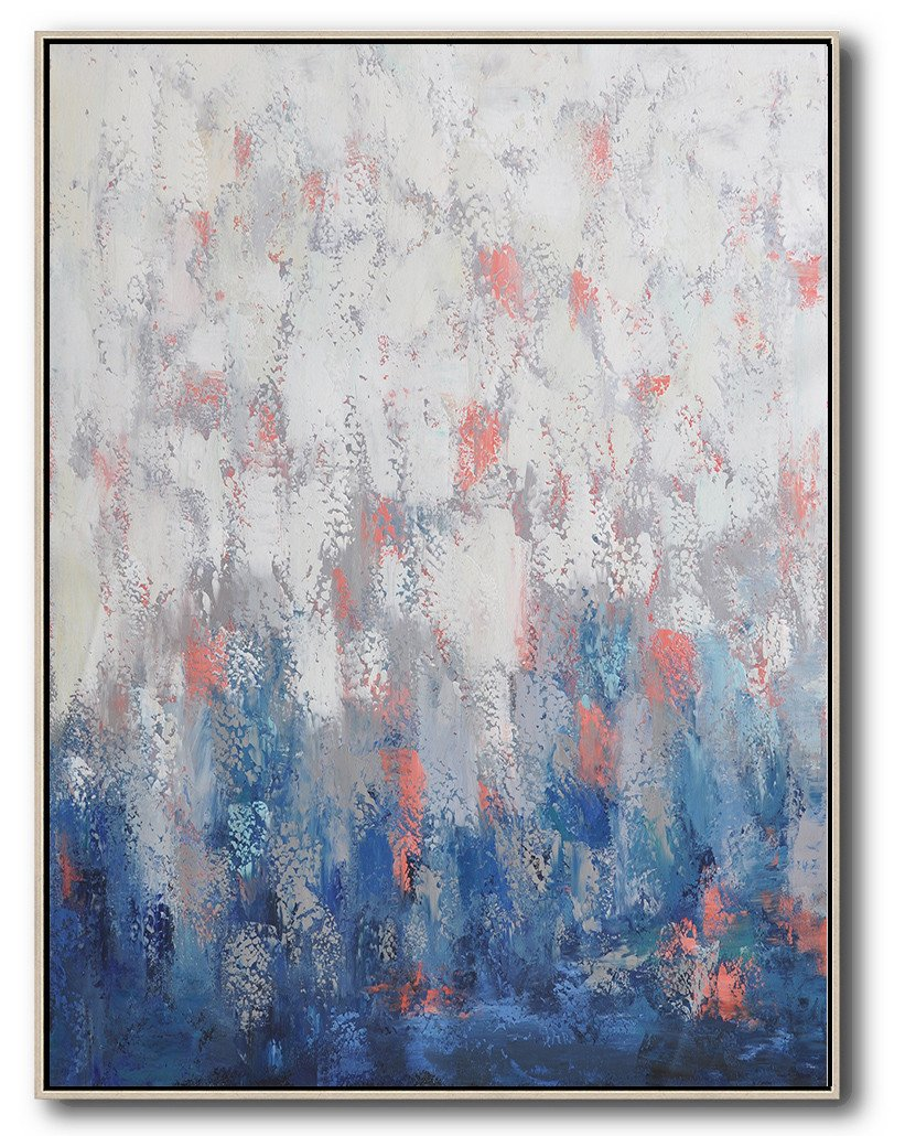 Large Abstract Art Handmade Oil Painting,Vertical Palette Knife Contemporary Art,Living Room Canvas Art,Blue,White,Pink,Purple.etc