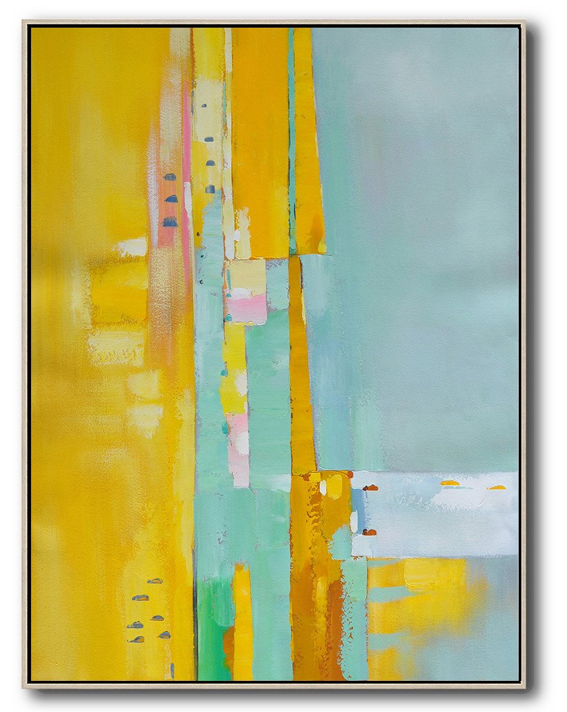 Large Abstract Art Handmade Painting,Vertical Palette Knife Contemporary Art,Abstract Painting On Canvas,Yellow,Blue,Pink.etc