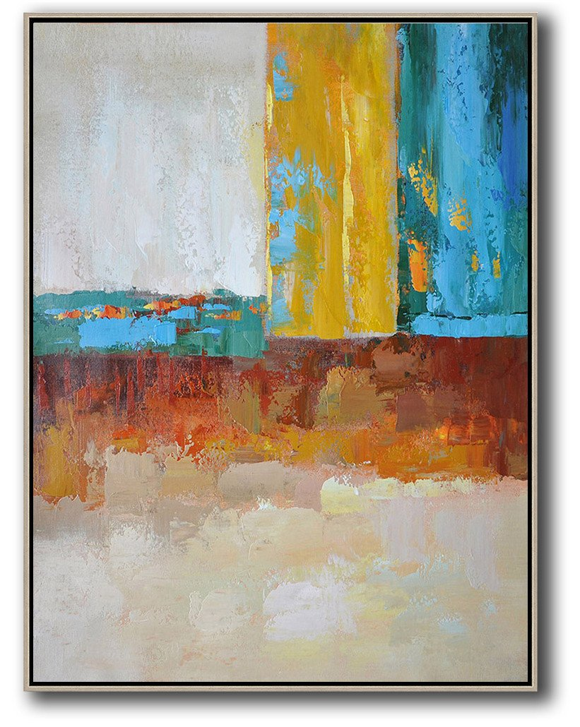 Abstract Painting Extra Large Canvas Art,Vertical Palette Knife Contemporary Art,Custom Canvas Wall Art,White,Grey,Yellow,Blue,Red.etc