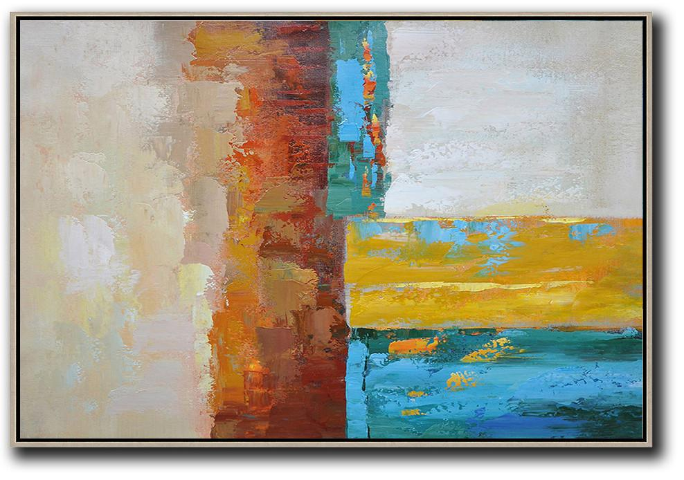 Large Abstract Art,Vertical Palette Knife Contemporary Art,Contemporary Art Canvas Painting,Blue,Red,Yellow,Gray.etc