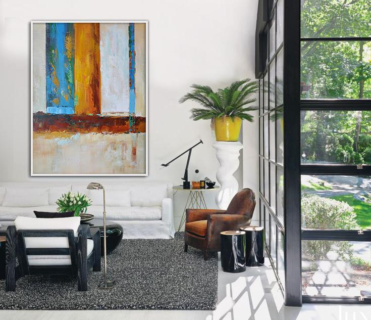 Extra Large Canvas Art,Vertical Palette Knife Contemporary Art,Large Colorful Wall Art,Blue,White,Yellow,Red.etc