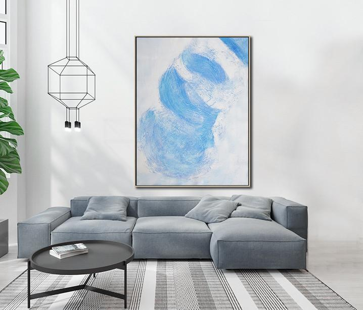 Large Abstract Art Handmade Oil Painting,Vertical Palette Knife Contemporary Art,Hand-Painted Canvas Art,Sky Blue,White,Gray.etc