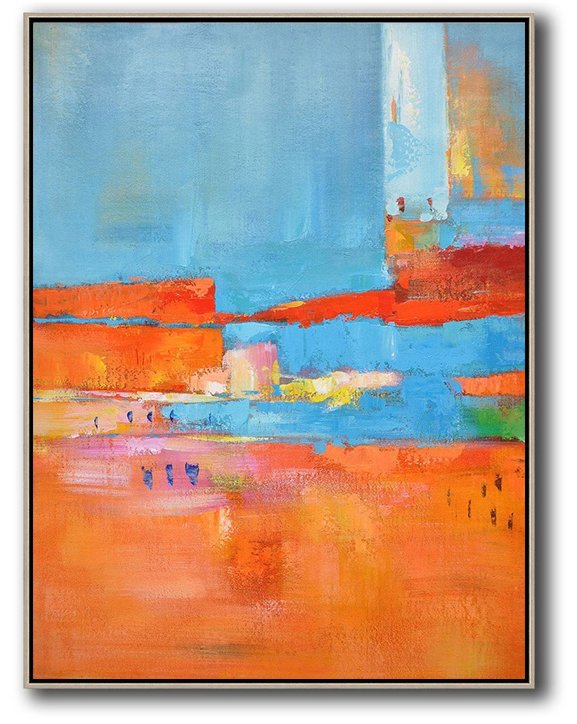Original Abstract Painting Extra Large Canvas Art,Vertical Palette Knife Contemporary Art,Hand Painted Original Art,Red,Orange,Sky Blue,Pink.etc