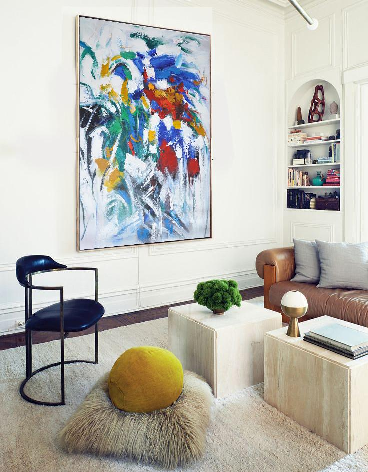 "Extra Large 72"" Acrylic Painting,Vertical Palette Knife Contemporary Art,Large Contemporary Painting,Blue,White,Yellow,Green,Red.etc"