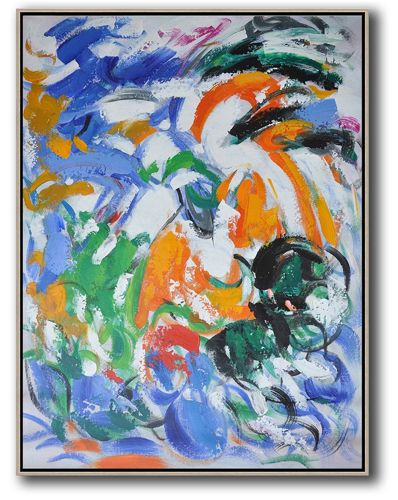 Hand Made Abstract Art,Vertical Palette Knife Contemporary Art,Acrylic Painting On Canvas,Blue,White,Orange,Green.etc