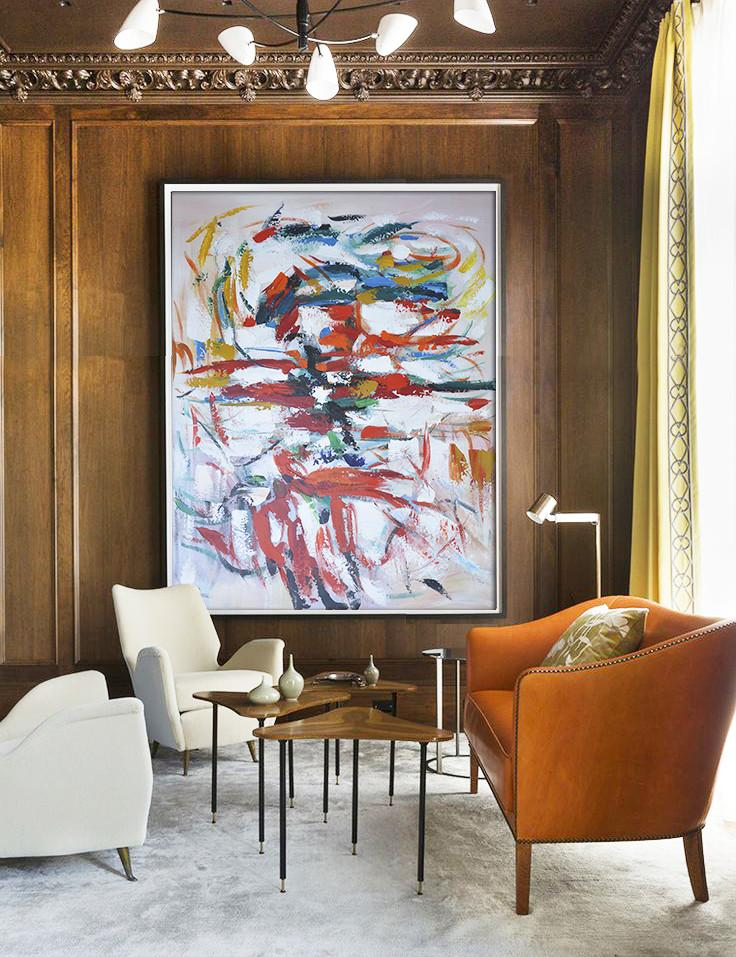Handmade Extra Large Contemporary Painting,Vertical Palette Knife Contemporary Art,Abstract Art Decor Large Canvas Painting,Red,White,Blue,Orange.etc