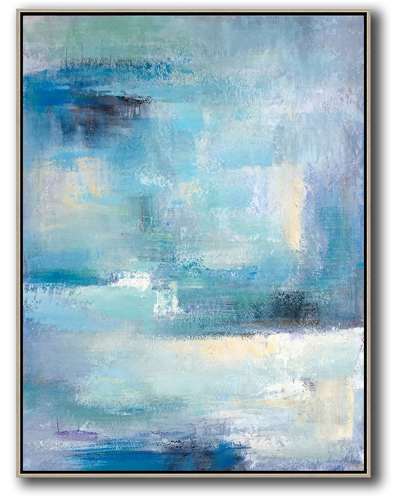 Extra Large Textured Painting On Canvas,Vertical Palette Knife Contemporary Art,Abstract Art On Canvas, Modern Art,Blue,White,Grey.etc