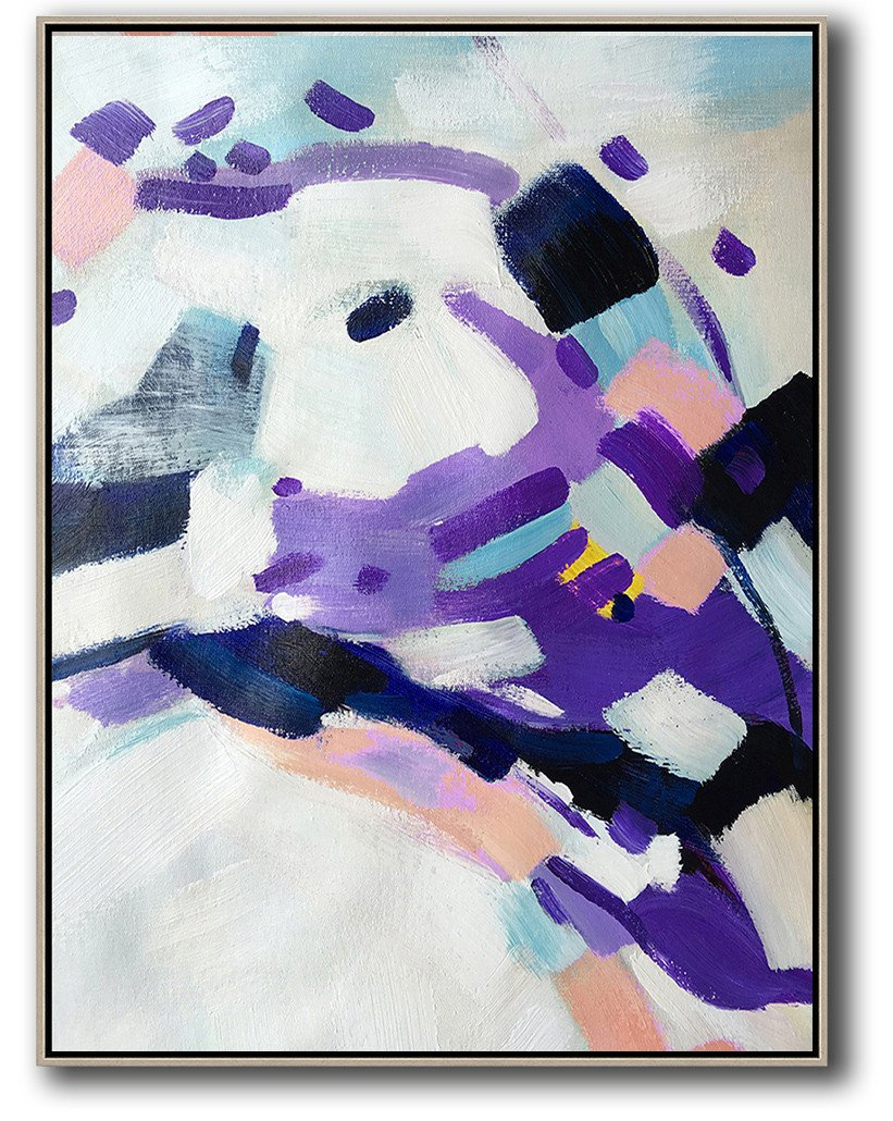 Original Painting Hand Made Large Abstract Art,Vertical Palette Knife Contemporary Art,Oversized Custom Canvas Art,White,Pink,Black,Purple.etc