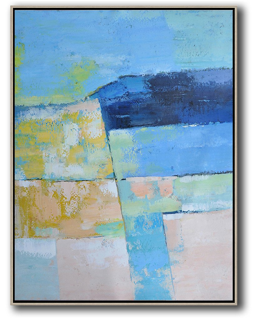 Extra Large Acrylic Painting On Canvas,Vertical Palette Knife Contemporary Art,Huge Abstract Canvas Art,Blue,Pink,Yellow.etc