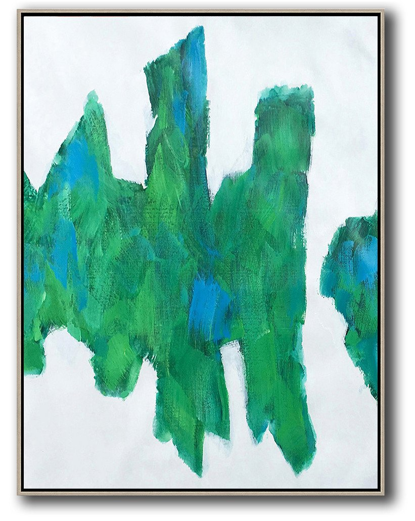 Large Abstract Art Handmade Oil Painting,Vertical Palette Knife Contemporary Art,Hand Painted Original Art,White,Green,Blue.etc