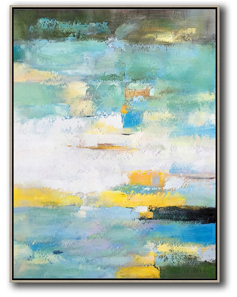 Handmade Extra Large Contemporary Painting,Vertical Palette Knife Contemporary Art,Canvas Artwork For Sale,Green,White,Yellow,Blue.etc