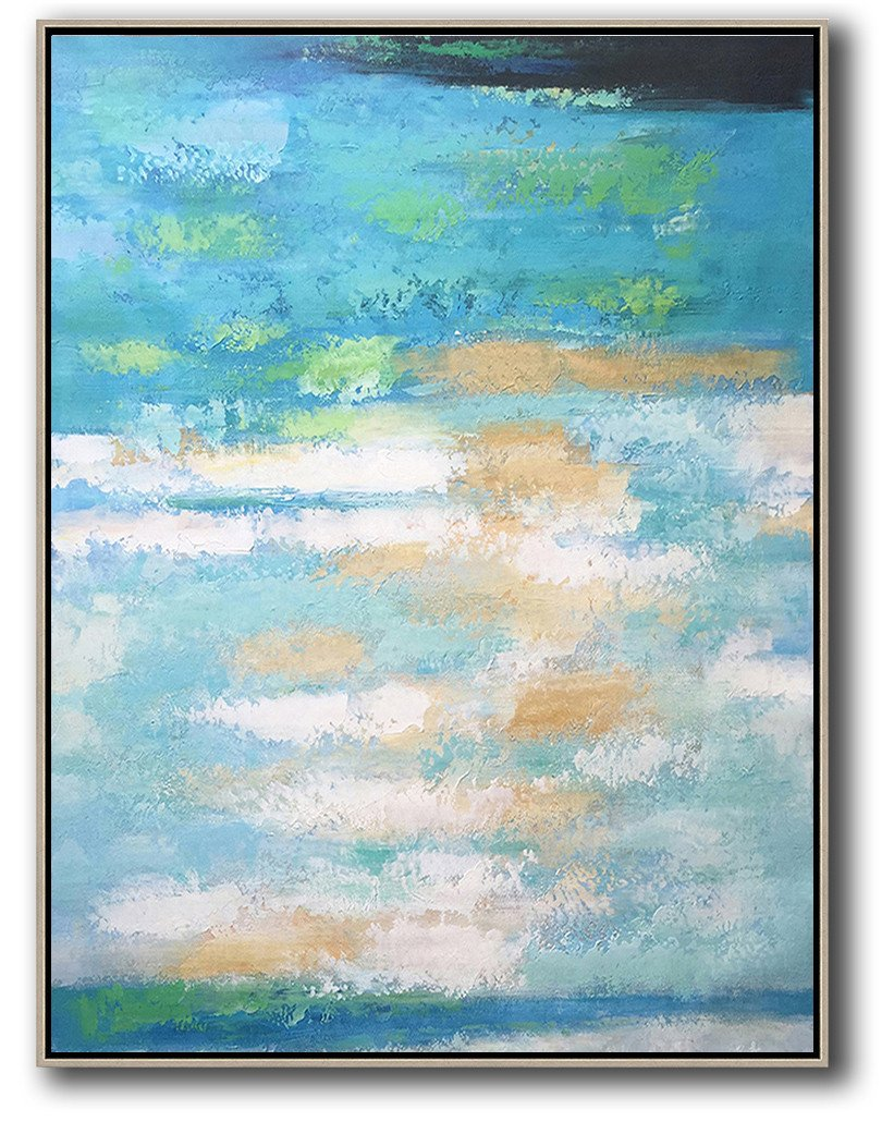 Extra Large Textured Painting On Canvas,Vertical Palette Knife Contemporary Art,Size Extra Large Abstract Art,Blue,Yellow,White.etc