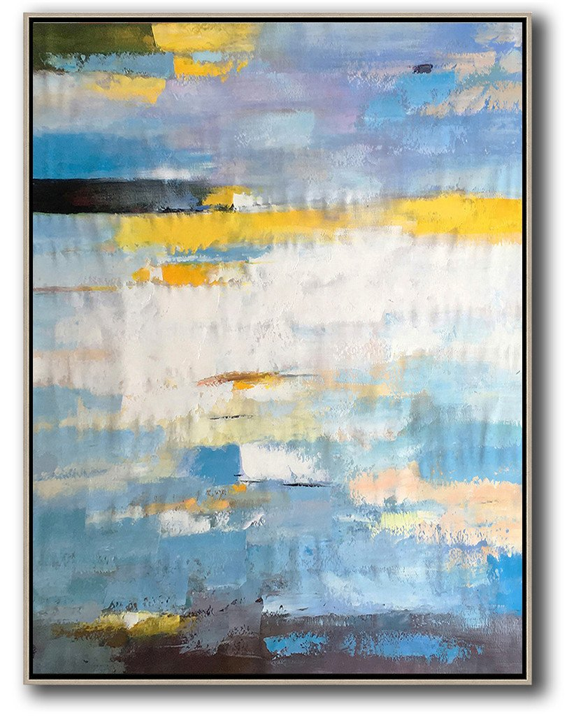 Oversized Canvas Art On Canvas,Vertical Palette Knife Contemporary Art,Modern Abstract Wall Art,White,Yellow,Purple,Black.etc