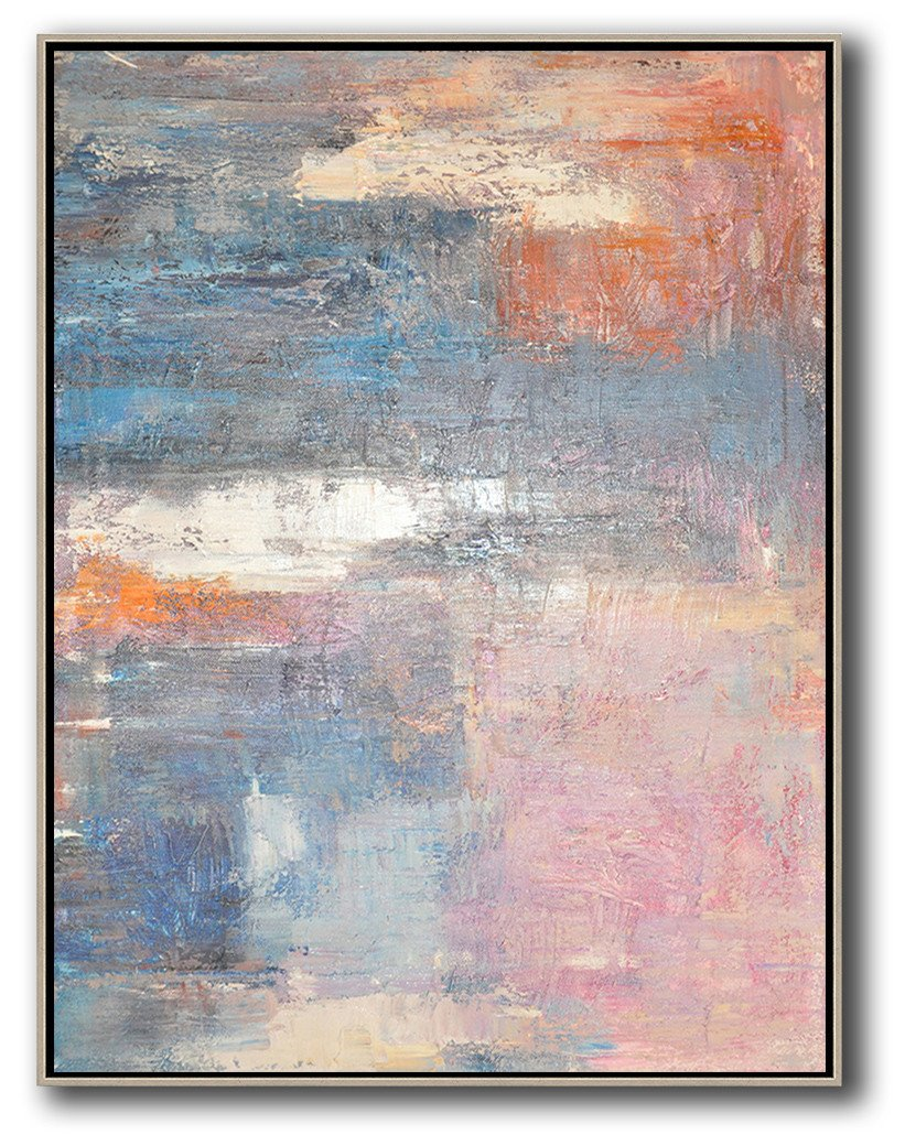 Hand Made Abstract Art,Vertical Palette Knife Contemporary Art,Hand Paint Abstract Painting,Pink,White,Orange,Violet Ash.etc