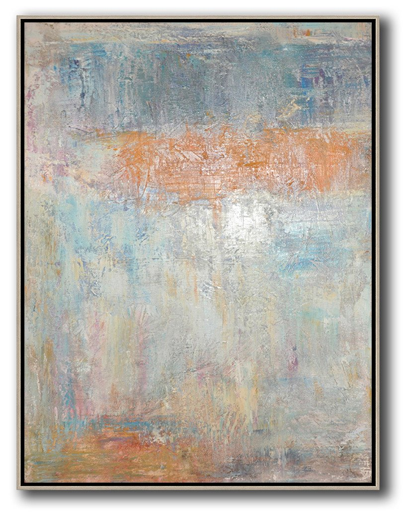 Original Extra Large Wall Art,Vertical Palette Knife Contemporary Art,Large Canvas Art,Modern Art Abstract Painting,Grey,Orange,Blue.etc