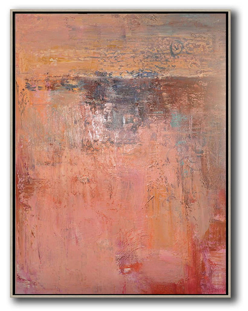 Handmade Painting Large Abstract Art,Vertical Palette Knife Contemporary Art,Huge Abstract Canvas Art,Pink,Brown,Red.etc