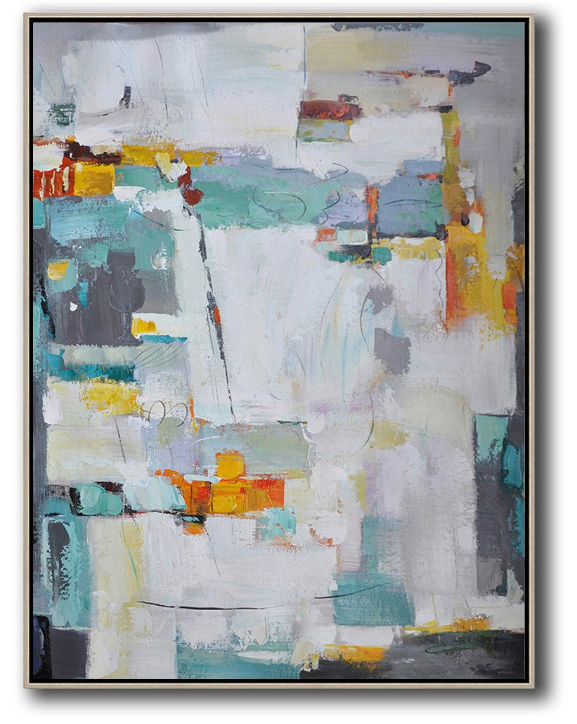 Handmade Large Painting,Vertical Palette Knife Contemporary Art,Big Art Canvas,Grey,Yellow,Purple,Grass Green,White.etc